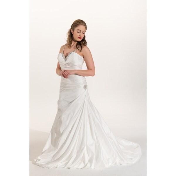 IK Bridal Couture White Taffeta Crystal Paved Neckline