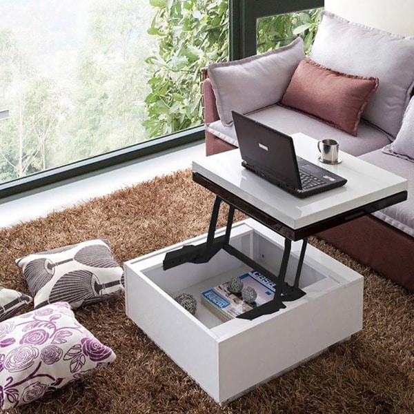 Design Coffee Table Rotating In White High Gloss With 3: Nikka High-gloss Lacquer Finish Swivel Lift-top Hidden