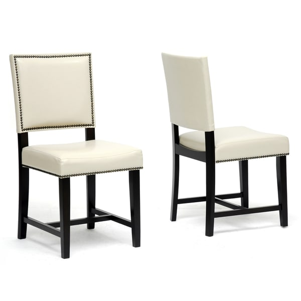 Baxton Studio Nottingham Cream Faux Leather Modern Dining Chairs Set Of 2 14671324