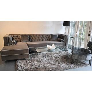 Decenni Custom Furniture Tobias Grey Velvet Tufted 9 5