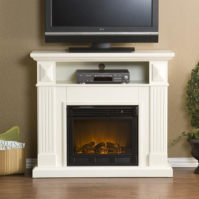 Raines Ivory Media Console Electric Fireplace 13187974