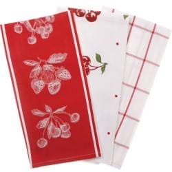 Cherry Print Kitchen Towels Pack Of 3 13191398