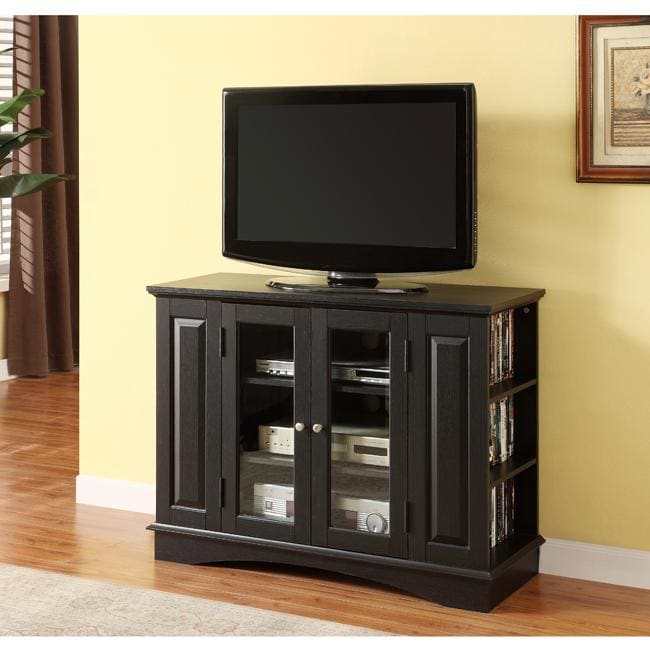 black highboy 42 inch wood tv stand overstock shopping great deals on entertainment centers. Black Bedroom Furniture Sets. Home Design Ideas