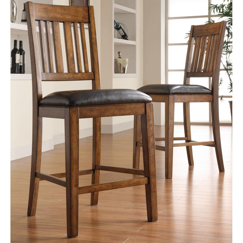 Alexandra Mission Oak Counter Height Chairs Set O