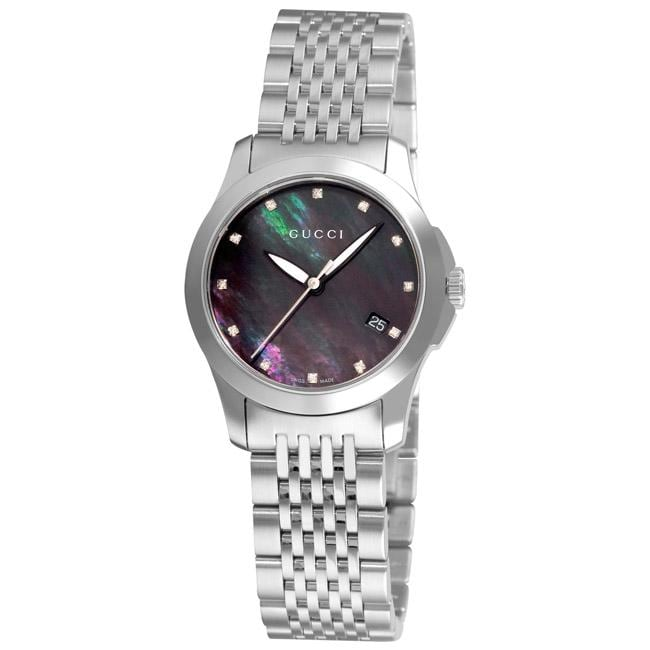 825d138d09e Gucci Womens Timeless Black Mother of Pearl Face Watch on PopScreen