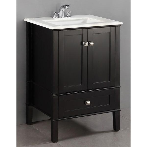 WYNDENHALL Windham Black 25-inch Bath Vanity Set with Two ...