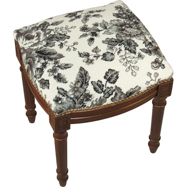 Black Toile Needlepoint Stool 14696159 Overstock Com