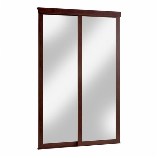 Sliding Mirror Fusion Door With Chocolate Frame 14696988