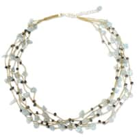 Handmade Silk 'Afternoon Sigh' Aquamarine and Pearl Necklace (3 mm) (Thailand)