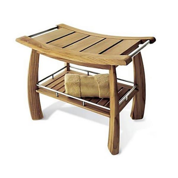Teak Shower Bench With Shelf 14715430 Overstock Com
