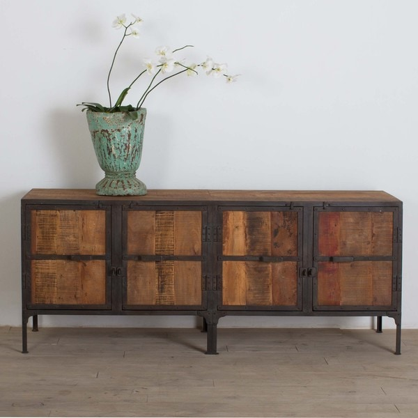 Metal Framed Reclaimed Wood Buffet 14735342 Overstock