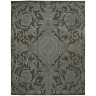Hand Tufted Grand Chocolate Brown Floral Wool Rug 7 6 X 9