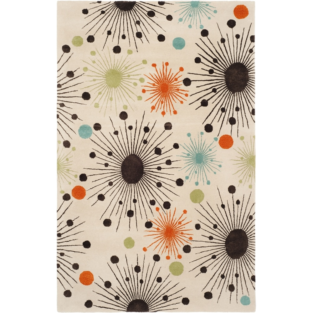 Modern Art Abstract Beige Polyester Rug 15006048