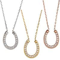 La Preciosa Sterling Silver Cubic Zirconia Horseshoe Necklace