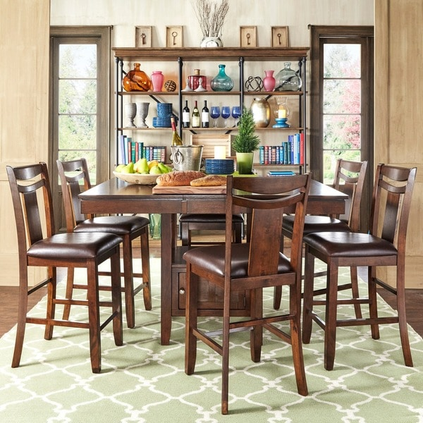 Tribecca Home Acton Warm Merlot X Back Casual Dining Side: TRIBECCA HOME Marsden Rustic Brown Mission Counter Height