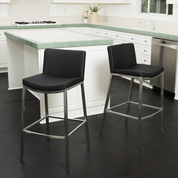 Christopher Knight Home Mauricio Black Pu Barstool Set Of 2