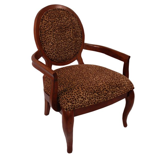 Elliot Leopard Print Cherry Arm Chair 13336725