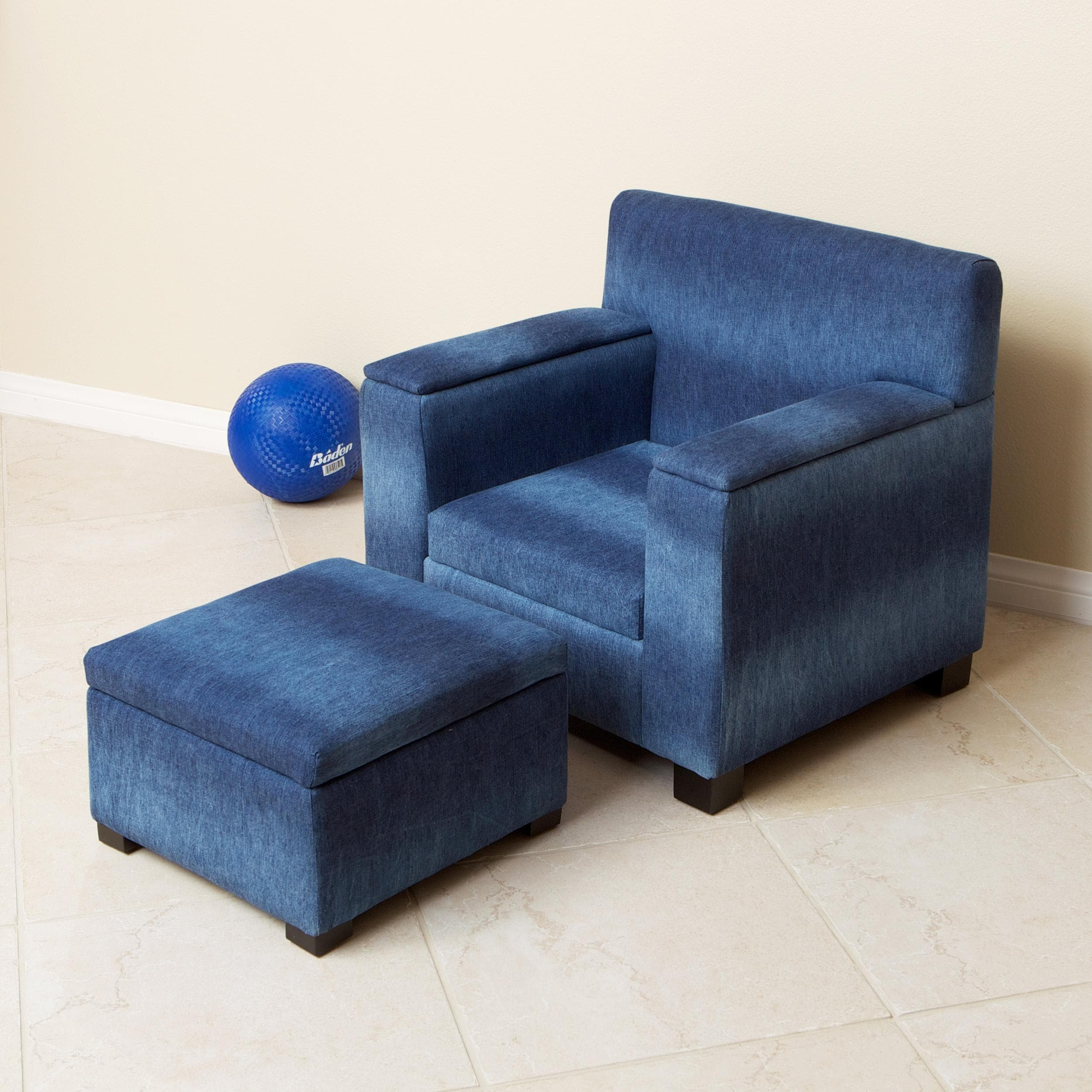 Blue Denim Fabric Kid S Club Chair And Ottoman Set