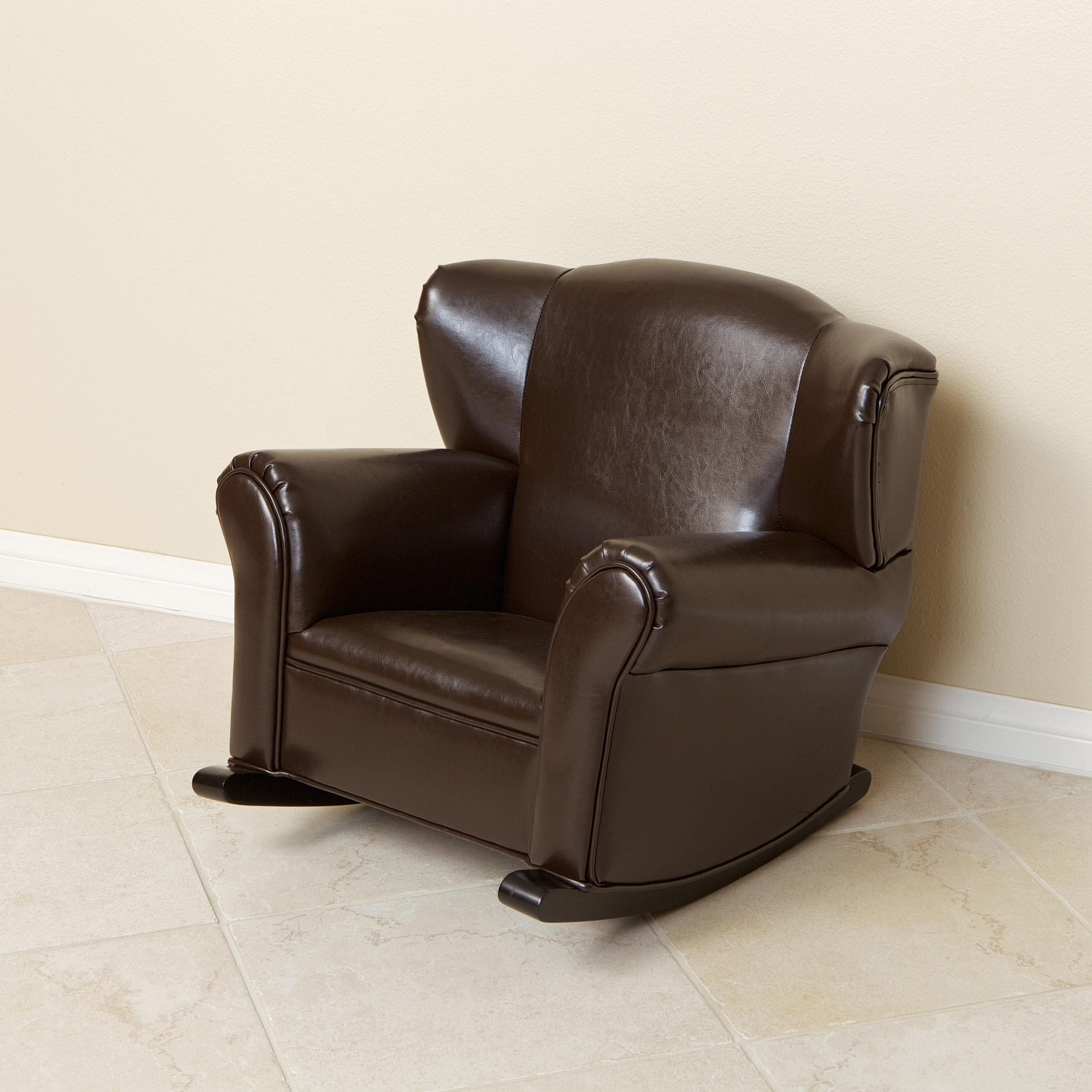 Bonded Leather Brown Kids Rocking Chair 13293570