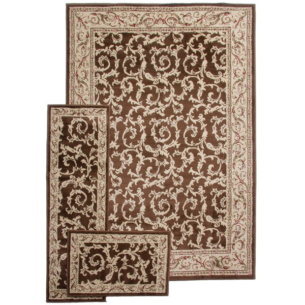 French Scrollstransitional Brown 3 Piece Rug Set