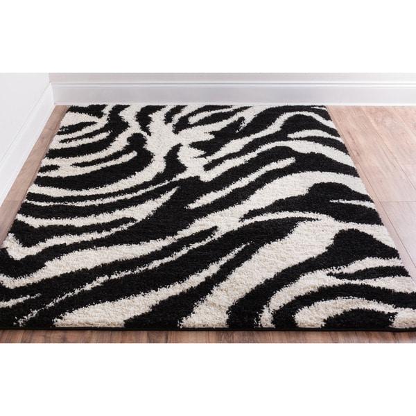 Shag Plush Black And Ivory Zebra Print Area Rug 5 X 7 2