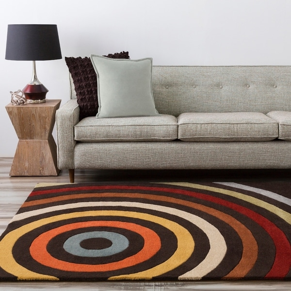 Hand-tufted Marquez Geometric Circles Wool Area Rug - 2' x 3'