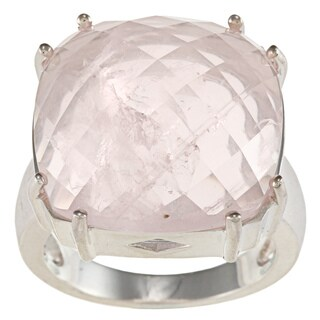 FJC Sterling Silver Pink Quartz Ring