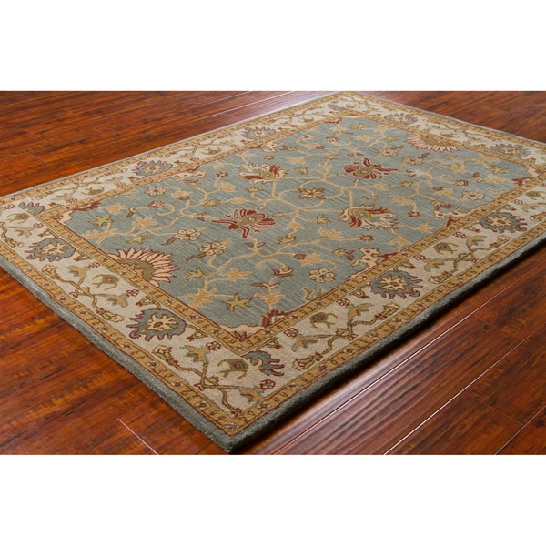 New Persian Hand Tufted Wool Oval Area Rug: Artist's Loom Hand-tufted Traditional Oriental Wool Rug