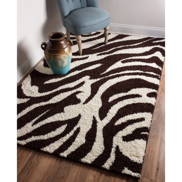 Shag Plush Brown And Ivory Zebra Print Area Rug 3 3 X 5 3