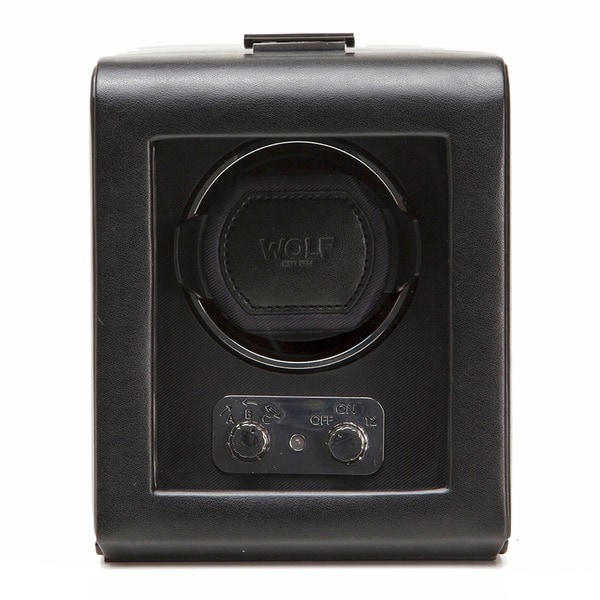 WOLF Heritage Black Faux Leather Single Watch Winder