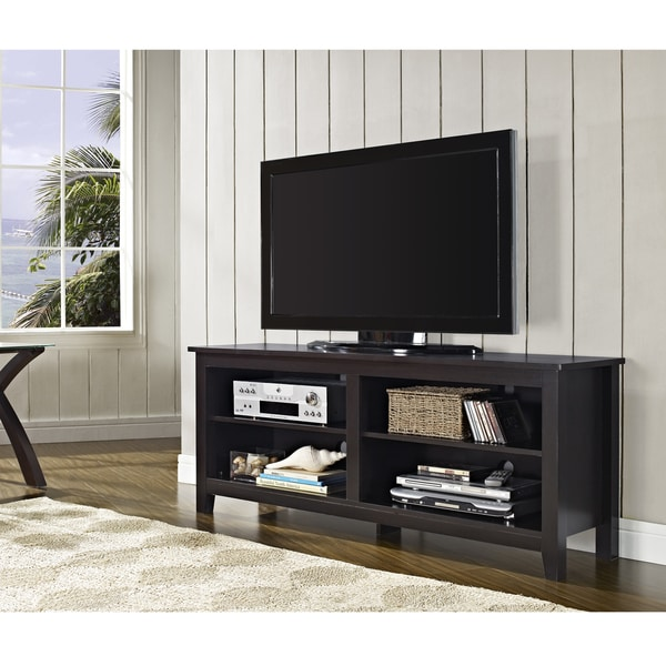 58 Inch Espresso Wood TV Stand Overstock Shopping