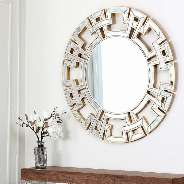 Overstock Mirrors: ABBYSON LIVING Pierre Gold Round Wall Mirror