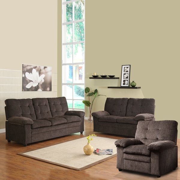 Overstock Living Room Sets: Sequoia Chocolate Chenille Tufted 3-piece Living Room Set