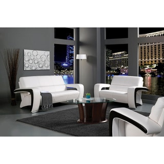 Christina Red Black 2 Tone Bonded Leather Modern Sofa Set