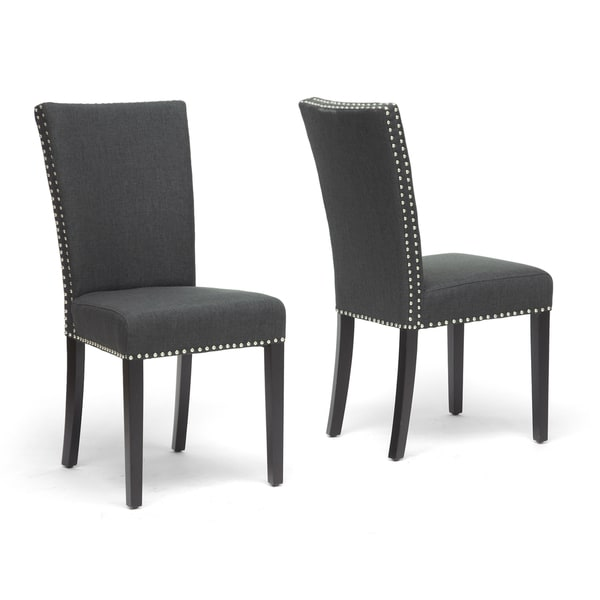 Harrowgate Dark Gray Linen Modern Dining Chair Set Of 2