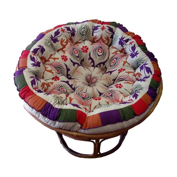 Celebration Papasan Purple Peacock Cushion