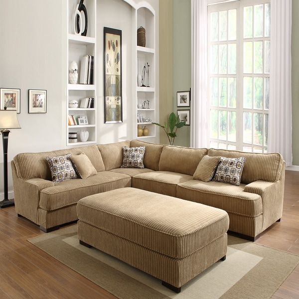 Madrid Taupe Beige Ultra Modern Living Room Furniture 3: Tara Beige Chenille Sectional Set
