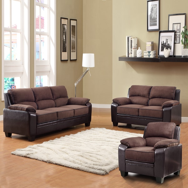 Morena dark brown two tone microfiber 3 piece living room - Microfiber living room furniture sets ...