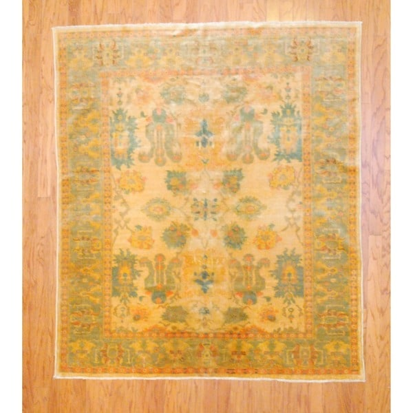 Vegetable Dyed Hand Knotted Floral Oushak Ivory Persian: Egyptian Hand-knotted Vegetable Dye Gold/ Peach Wool Rug