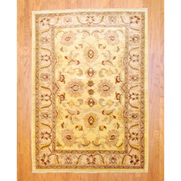 Vegetable Dyed Hand Knotted Floral Oushak Ivory Persian: Herat Oriental Afghan Hand-knotted Vegetable Dye Wool Rug