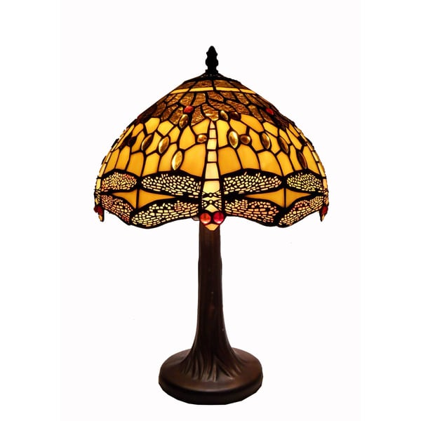 Tiffany Style Amber Dragonfly Table Lamp 14806473