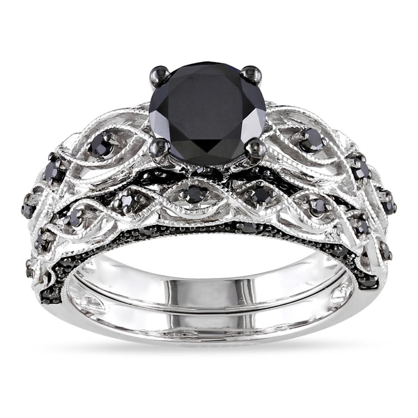 Miadora 10k white gold 1 2 5ct tdw black diamond bridal ring set i1 i2 e56b809f 1773 4e24 bd34 2e1a3981af0d 600