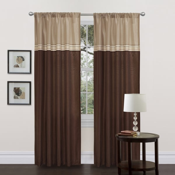 Lush Decor Terra Beige Brown 84 Inch Curtain Panels Set