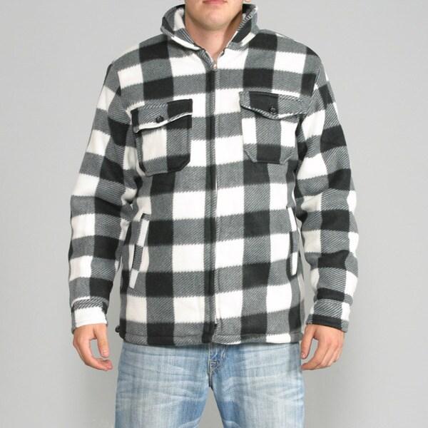 Maxxsel Men S Black White Buffalo Plaid Flannel Jacket