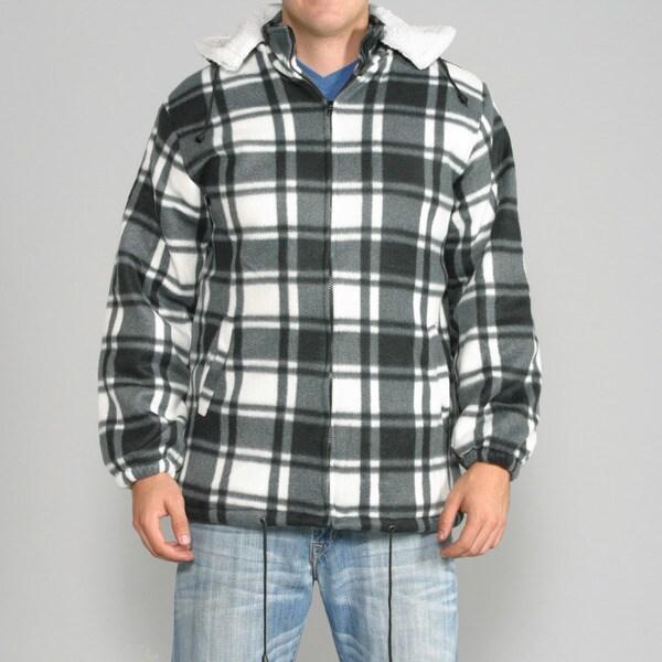 Maxxsel Men S White Black Plaid Fleece Jacket With