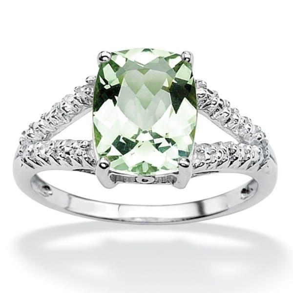 PalmBeach 2.32 TCW Genuine Green Amethyst and Diamond ...