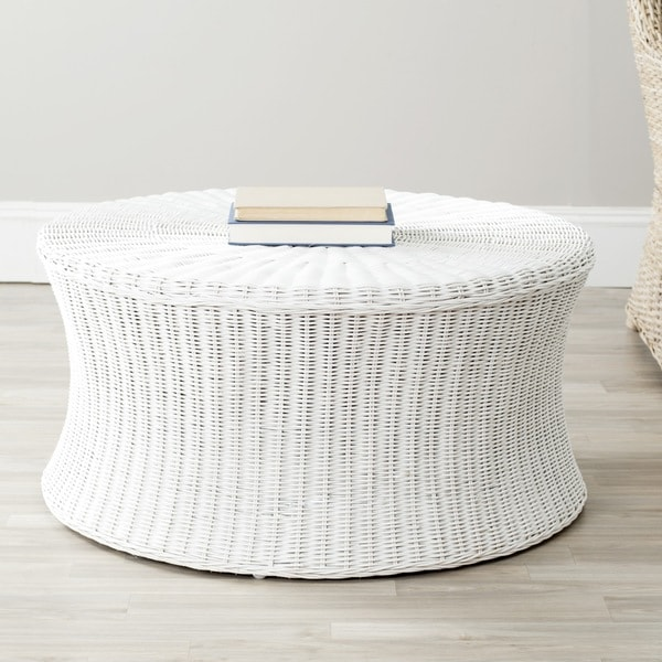 Safavieh Ruxton White Wicker Ottoman 14846720