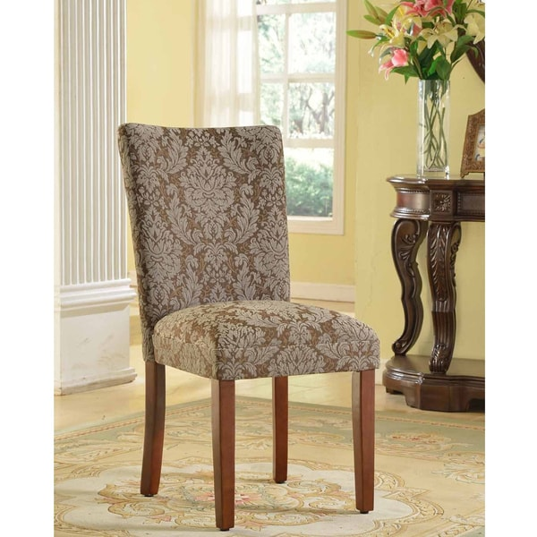 Brown And Blue Dining Room: HomePop Elegant Blue And Brown Damask Parson Chairs (Set