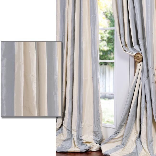 Exclusive Fabrics Baby Blue Tan Striped Faux Silk Taffeta