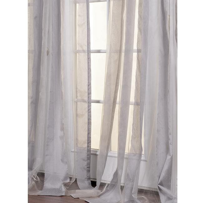 Light Grey Striped 96-inch Sheer Curtain Panel